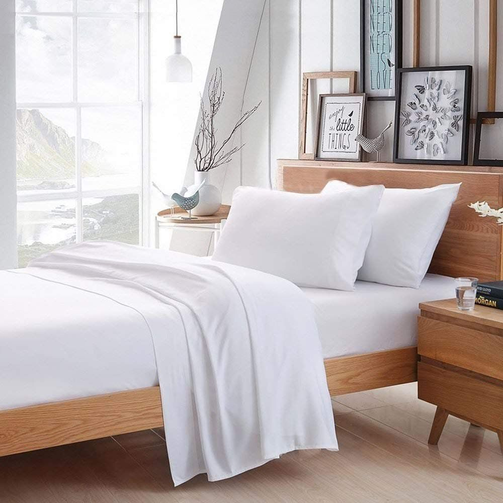 1500TC Egyptian Cotton WATERBED SHEET SET Sateen Solid White