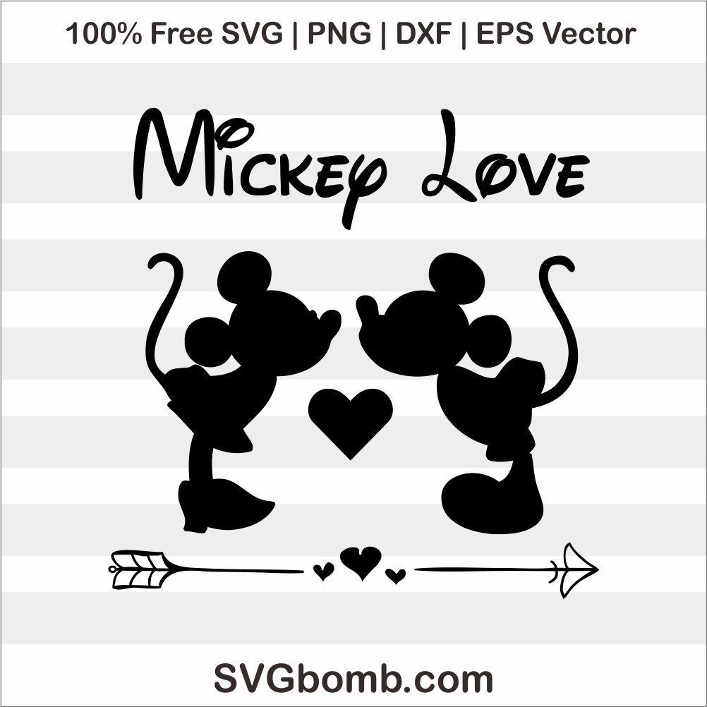 Free Svg Mickey Minnie Mouse Love Mickey Love Mickey Mouse Silhouette Minnie Mouse Silhouette