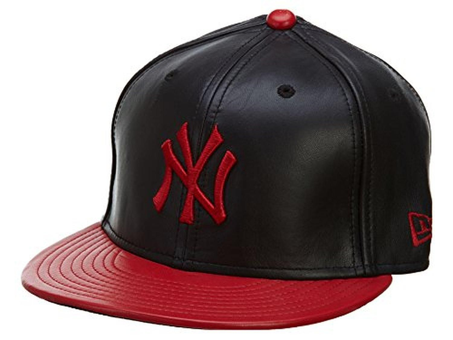 New Era New York Yankees Mlb Leather 59fifty Cap Black Scarlet Size 8 Yankees Fitted Hat New York Yankees Yankee Fitted