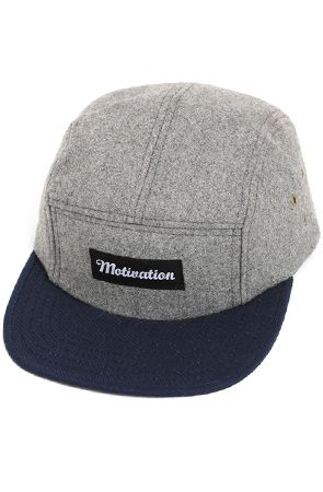 717629f513a6a Motivation 5-Panel Camp Hat Charcoal Melton Wool   Navy Duck Canvas ...