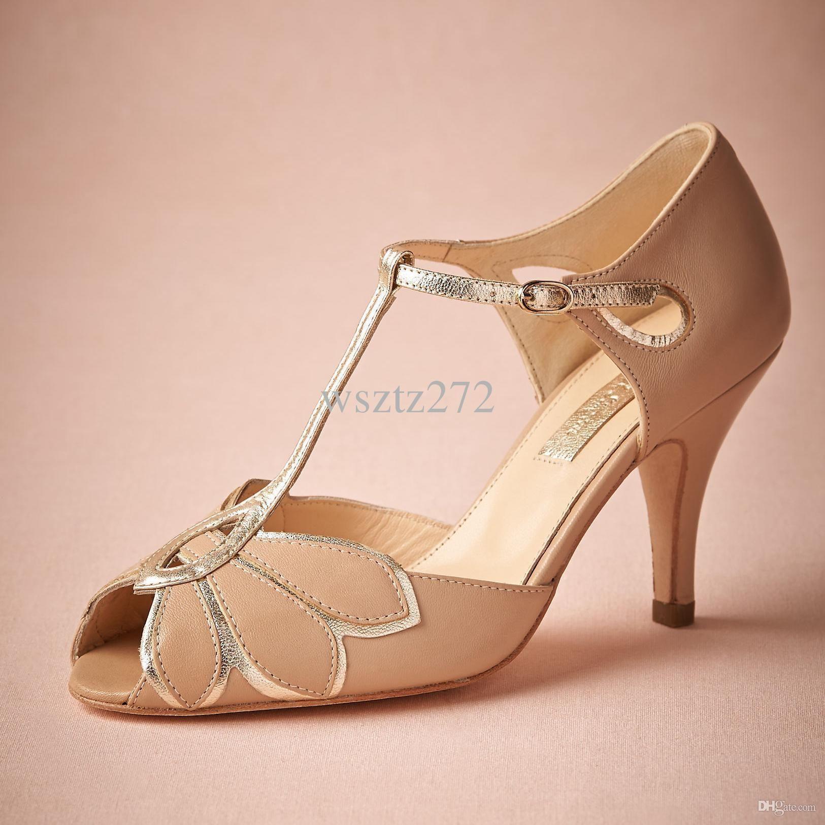 a1420aab196 Vintage Blush Wedding Shoes For Women Pumps T-Straps Buckle Closure ...