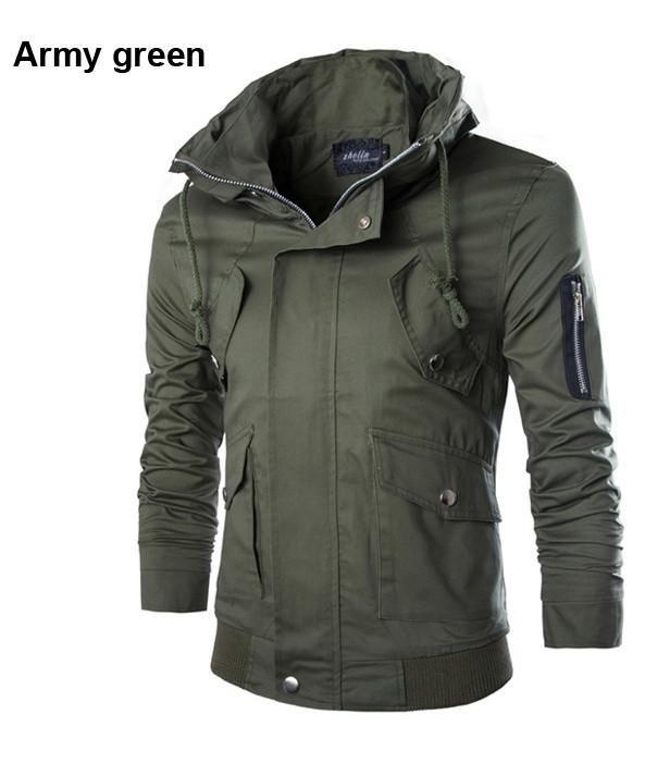 Mens Jacket Big Collared Long Sleeve Coat Full Zipper Water