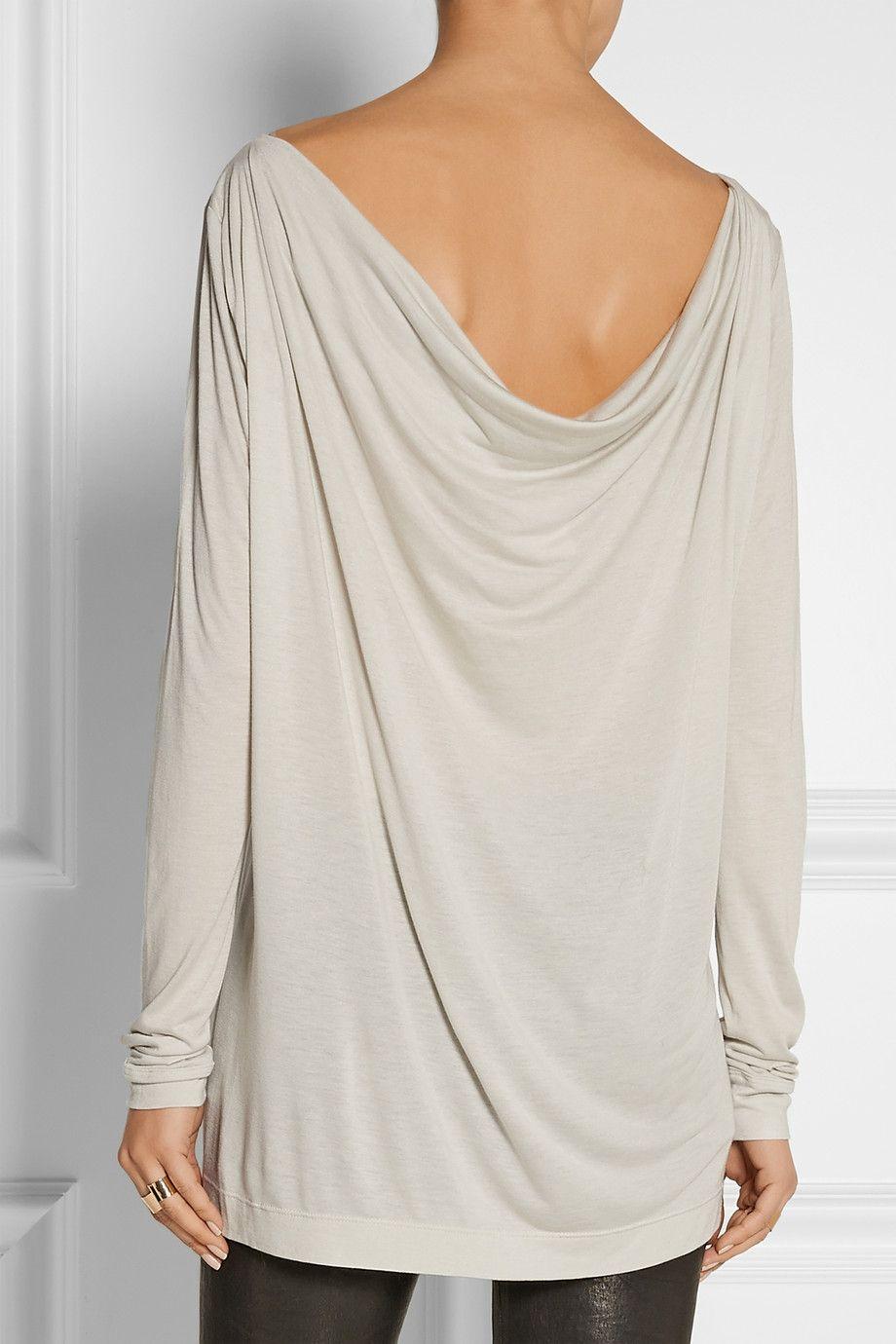 Donna Karan|Draped modal-blend jersey top|NET-A-PORTER.COM