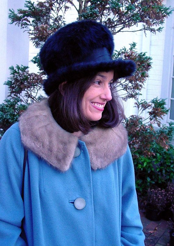 1960s fur hat black derby hat felt fur hat by by vintagerunway ... bd15fff45417