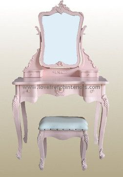 Rose Pink French Dressing Table Mirror And Stool Traditional Kids