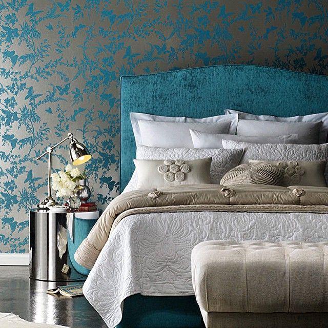 дизайн спальня обои декорстен интерьер изголовье декор