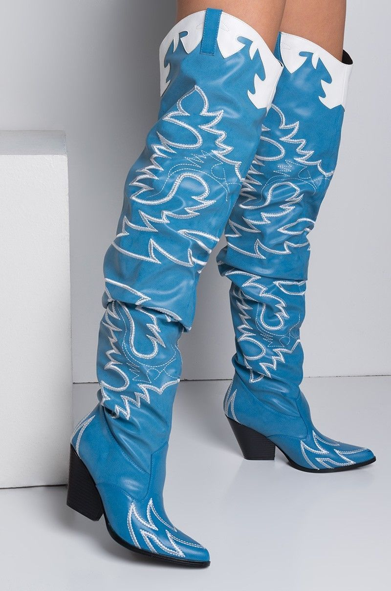 3e540e639 55.99   Cape Robbin Kelsey-21 BLUE COWBOY FASHION WESTERN POINTED OVER KNEE  THIGH BOOT ❤ #cape #robbin #kelsey #blue #cowboy #fashion #western #pointed  ...