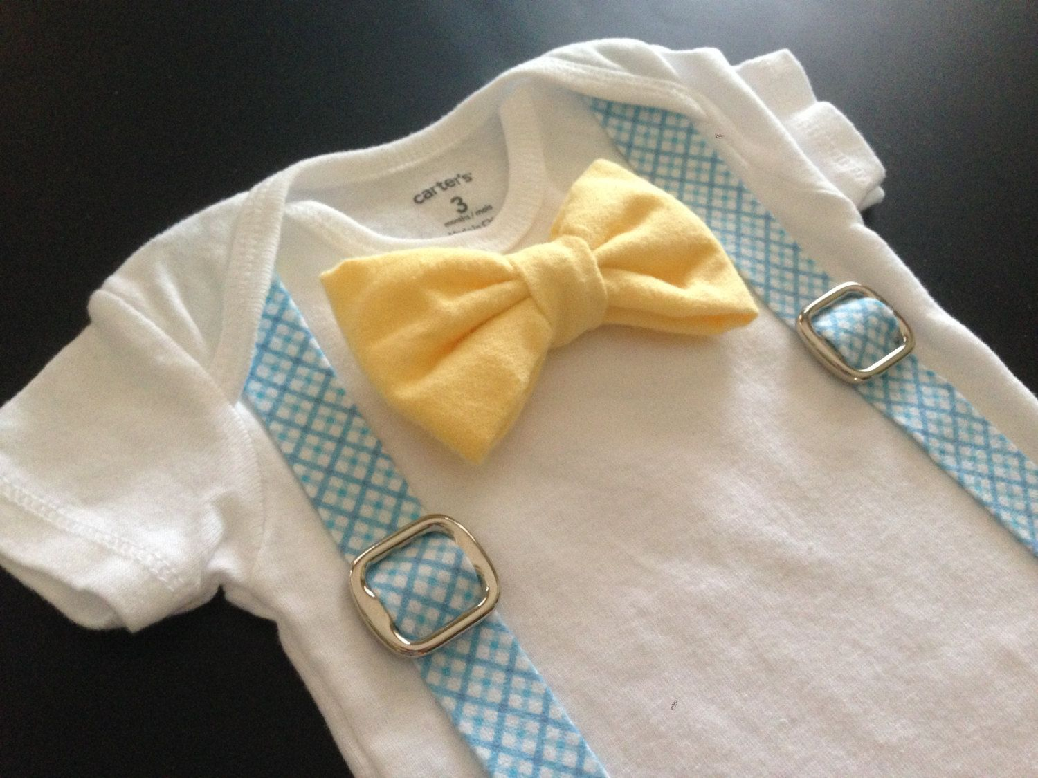 Easter Bowtie and Suspenders Onesie in Yellow by FourLittlePearls, $19.00