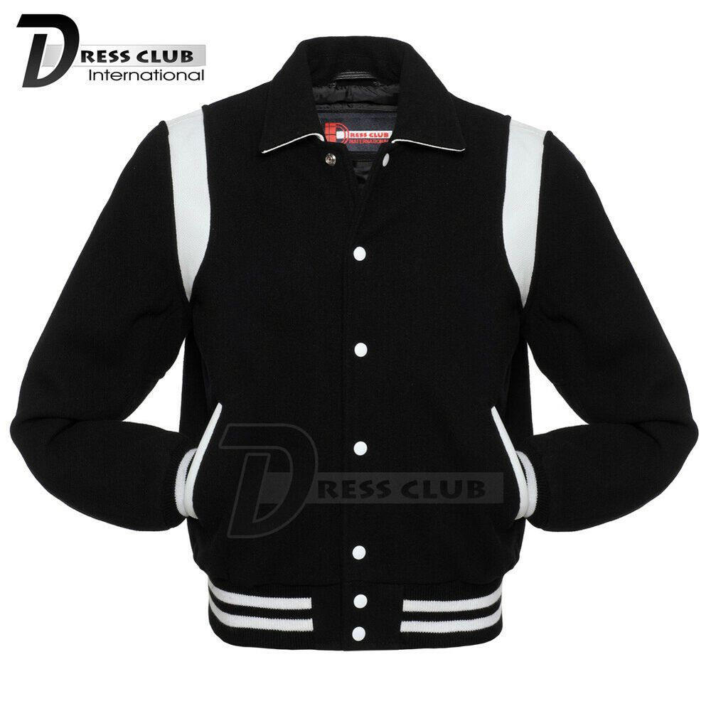 Super Retro Varsity Letterman Baseball Jacket Black Body White Leather Inserts Dressclub Varsity Varsity Jacket Leather Sleeve Jacket Custom Varsity Jackets