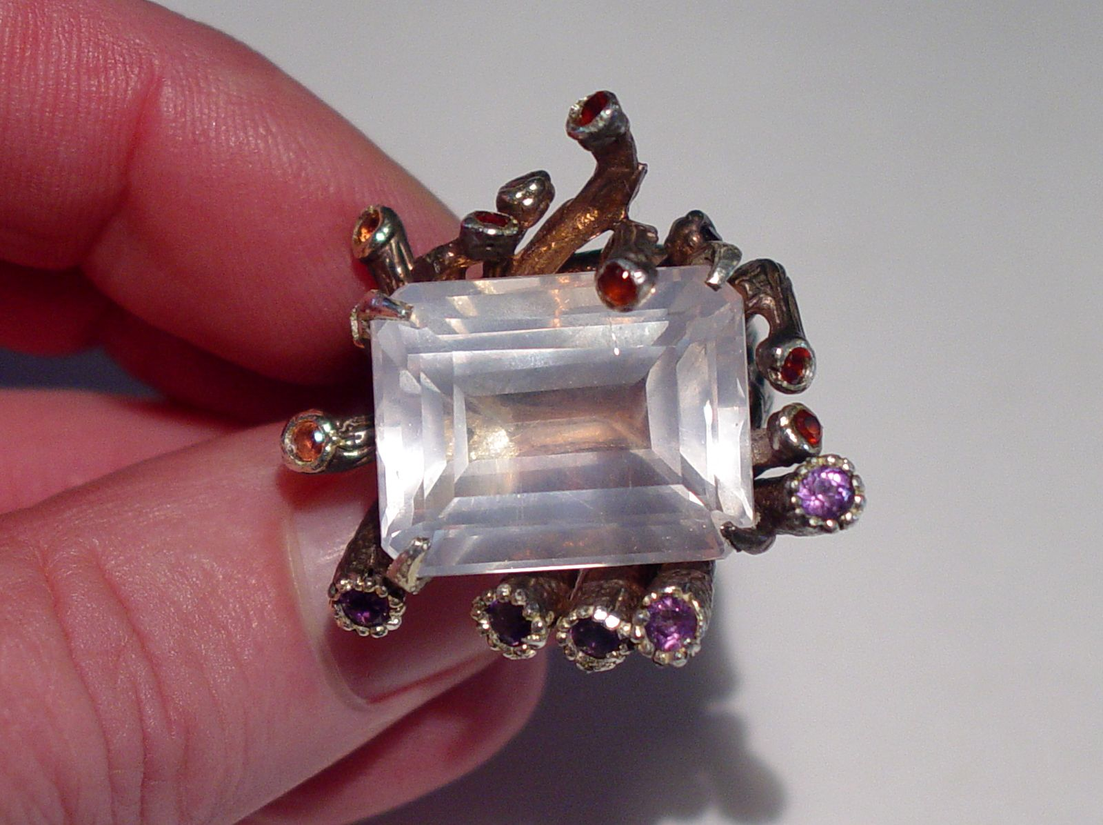 MASSIVE DESIGNER BORA YASAR 14K STERLING ROSE QUARTZ GEMSTONE