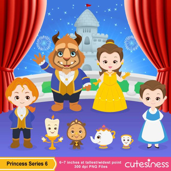 Beauty Beast Clipart Clip Art Bela E A Fera E Princesas De Feltro