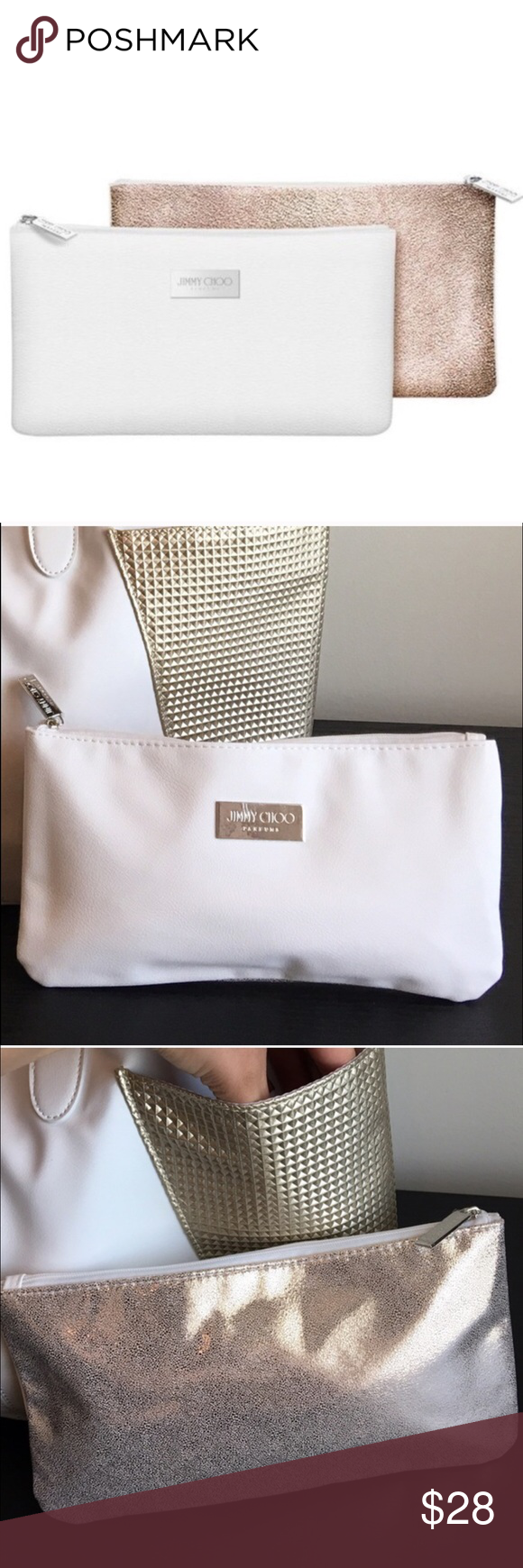 "Jimmy Choo make Up pouch Authentic, Jimmy Choo make up pouch. Two tone, white with silver plate in the front and shimmery gold in the back. As shown! Zipper closure, measures 10""X 5 1/2"". Given as a gift and never used it. NWOT Jimmy Choo Bags Cosmetic Bags & Cases"