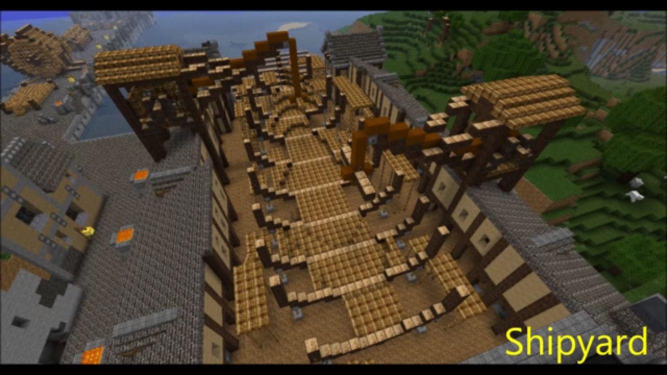 Minecraft shipyard ship build in progress | Minecraft