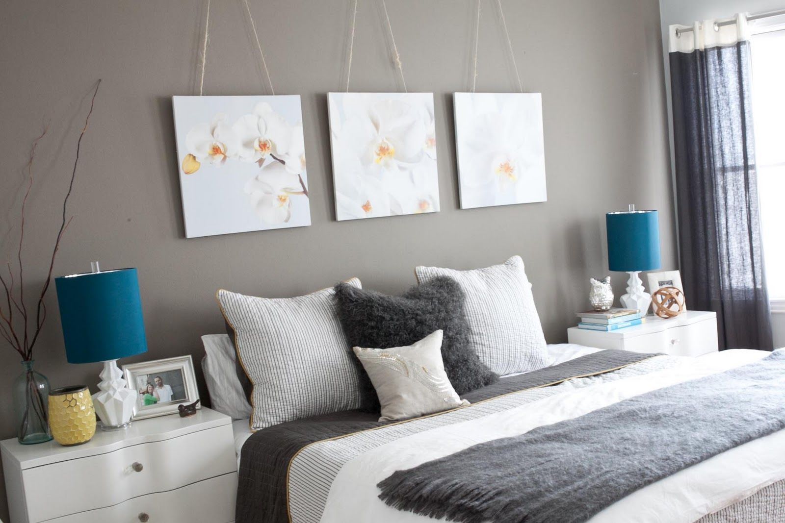 the sheets & the art above the bed - grey & white | home | Pinterest ...