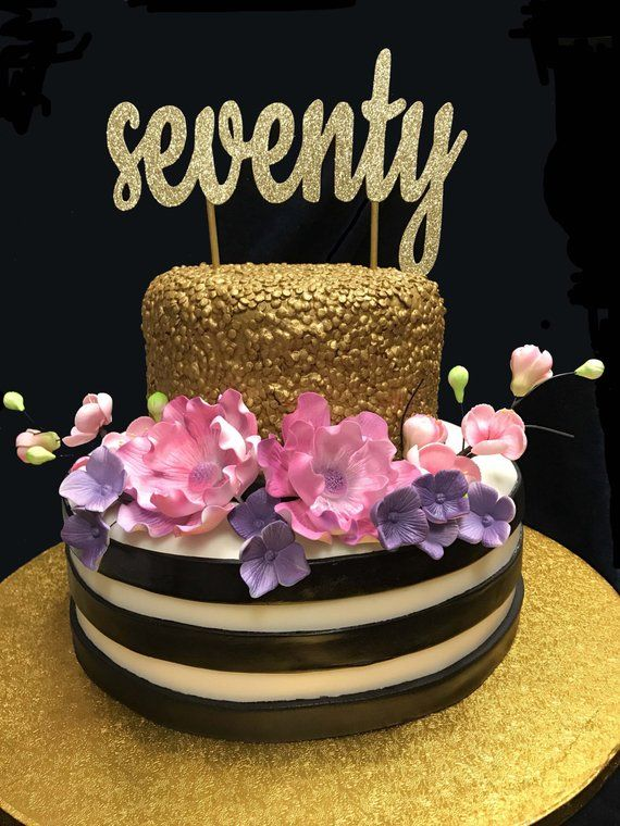 Seventy Birthday Cake Topper 70th 70 Gold To