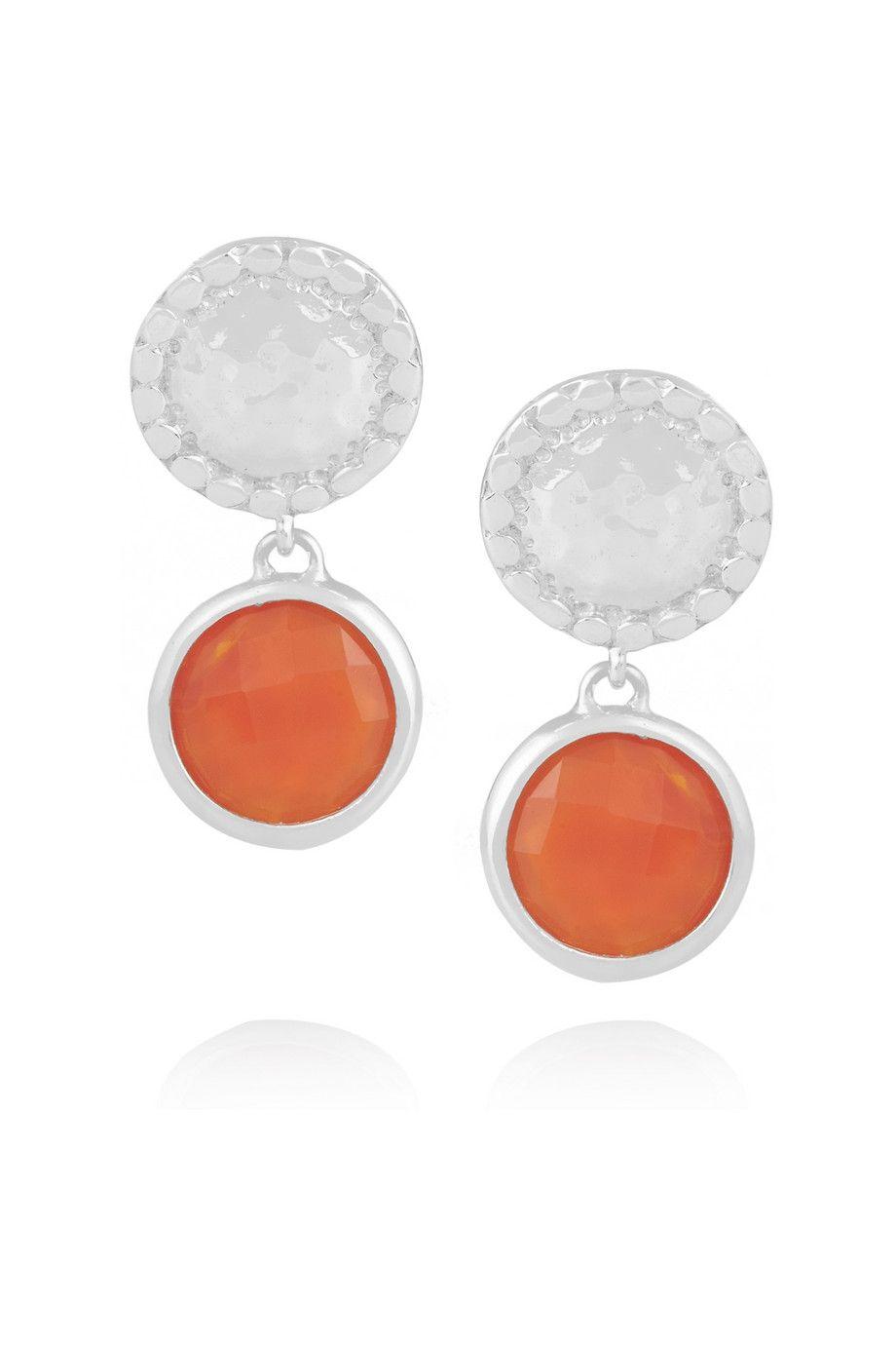 Mini Luna sterling silver carnelian earrings  by Monica Vinader