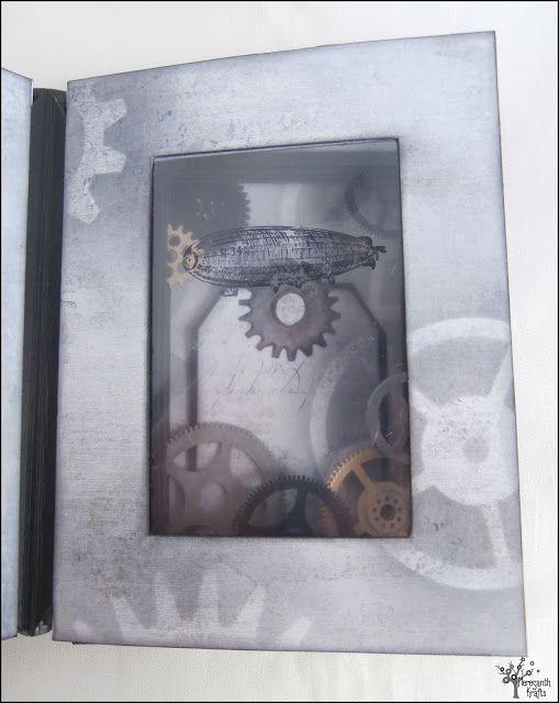 A steampunk see-through book with a shadowbox