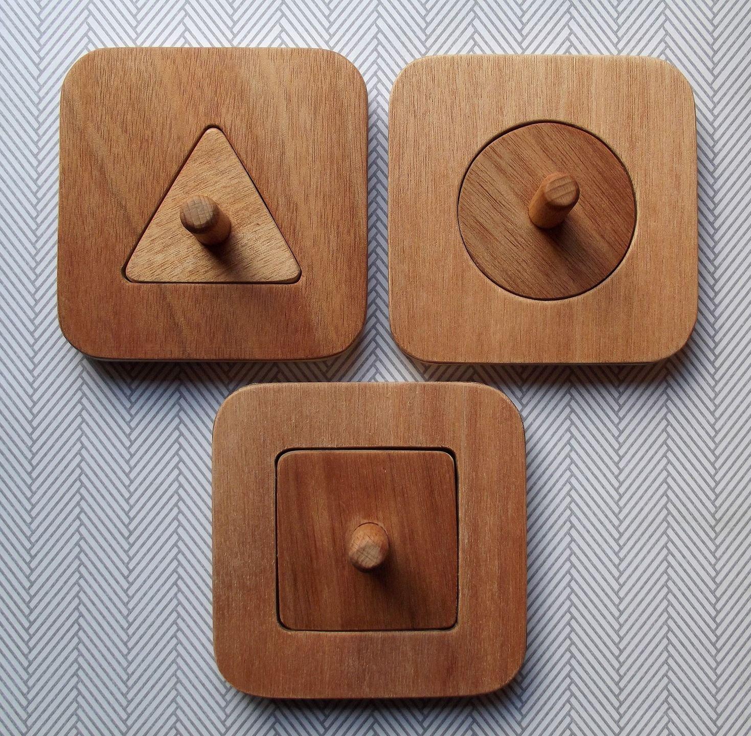 3 puzzles en bois forme unique encastrer rond carr triangle inspiration montessori jeux. Black Bedroom Furniture Sets. Home Design Ideas