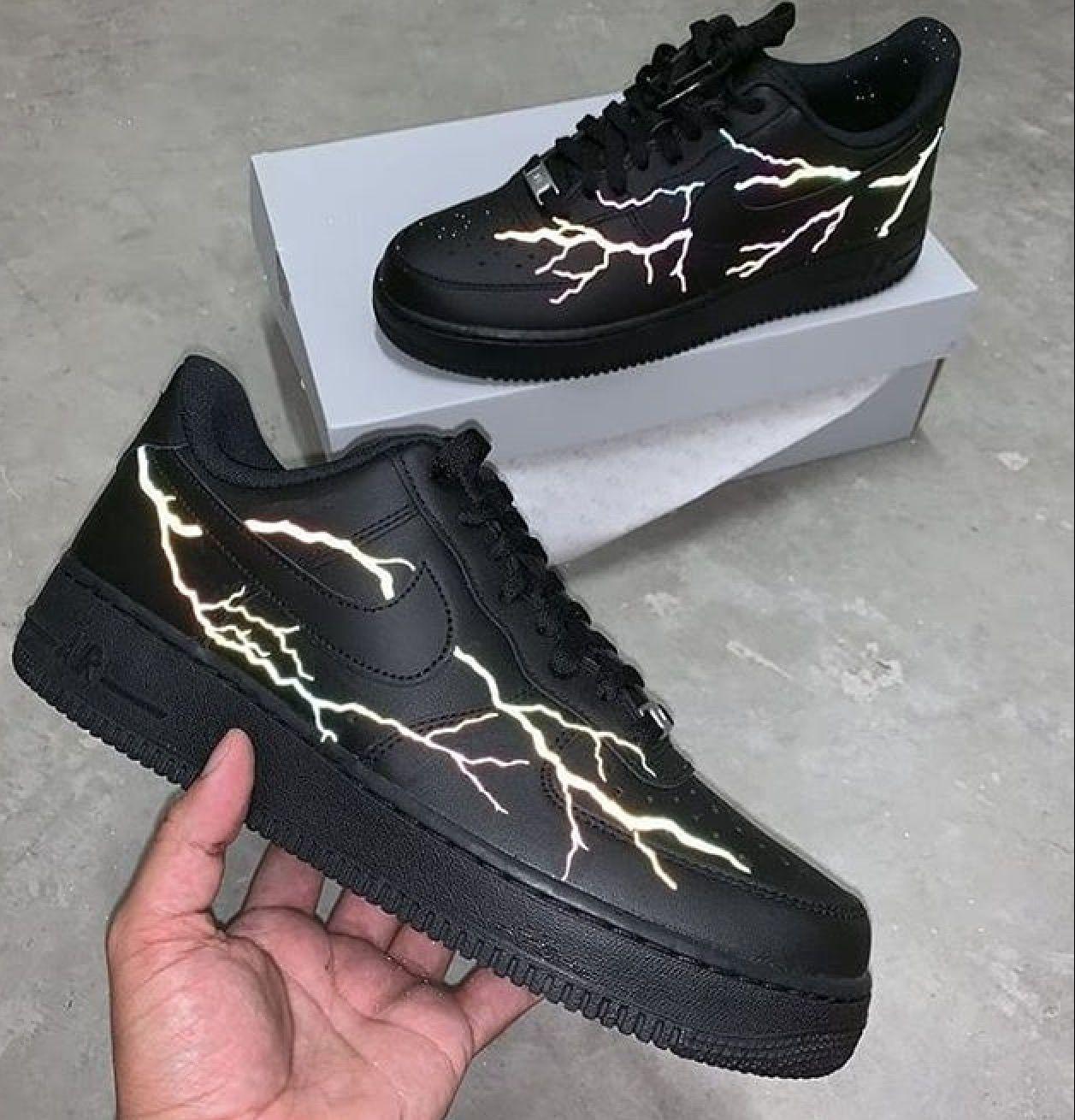 Custom black Air Force ones in 2020 Nike shoes air force