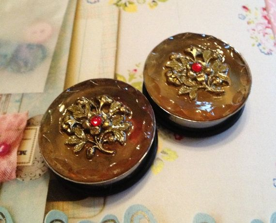 Antique Amber And Gold Plug Earrings 31mm By Shemused On Etsy 36 00