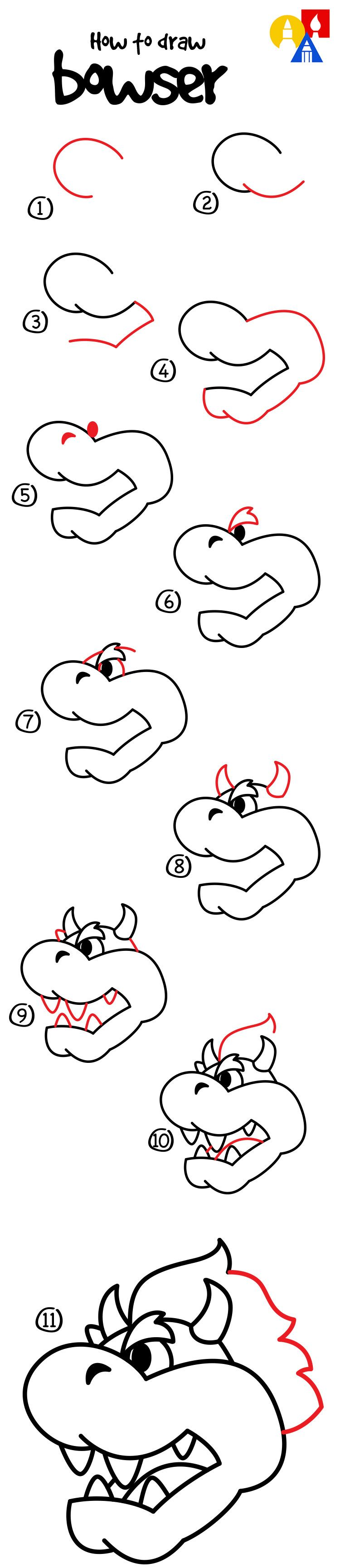 How To Draw Bowser - Art For Kids Hub - | Bowser, Drawings and Doodles
