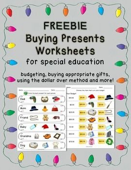 Free Worksheets On Buying Presents And Christmas Shopping For Students With Special Needs Special Education Life Skills Curriculum Education