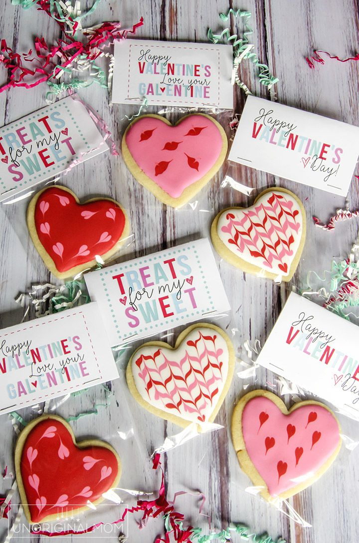 Hearts Cookie Gift Bag Topper Valentines Day Heart Cookie Gift Topper Valentine Cookie TOPPER 5 Happy Valentine/'s Day Cookie Bag Topper
