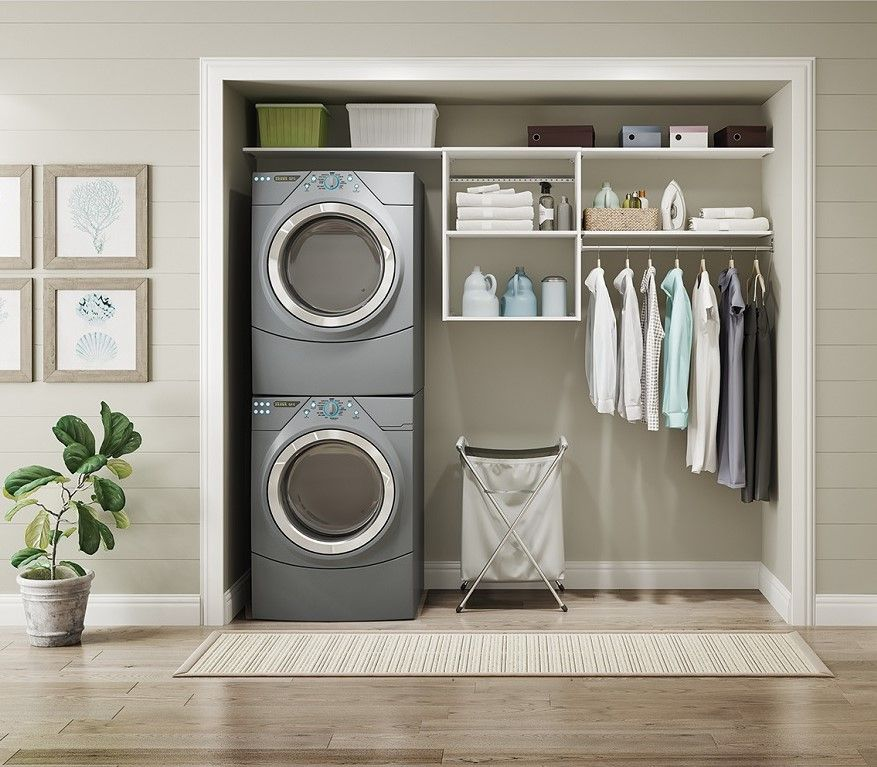 Turn An Ordinary Reach In Closet Into A Laundry Command Center With Style Available Homedepot Laundrycloset Laund Closet Maid Reach In Closet Closetmaid