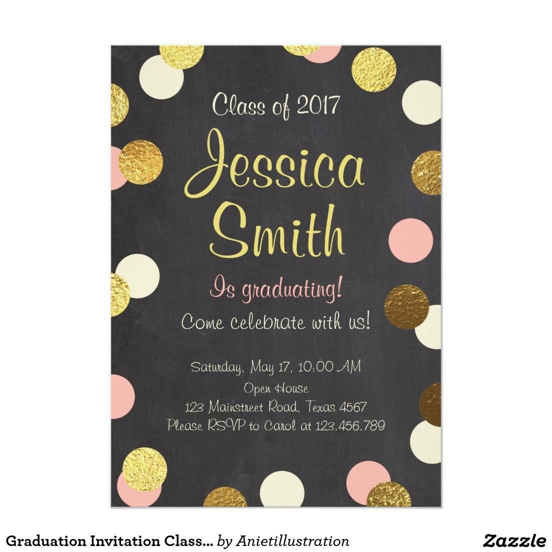Graduation invitation class 2017 gold black pink school graduation invitation class 2017 gold black pink filmwisefo Images