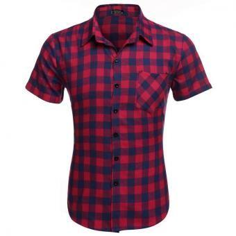 24d9f1e298 Camisa a cuadros manga corta para hombre-Rojo