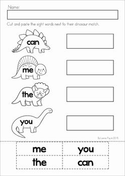 dinosaur preschool no prep worksheets activities pre primer sight words worksheets and literacy. Black Bedroom Furniture Sets. Home Design Ideas