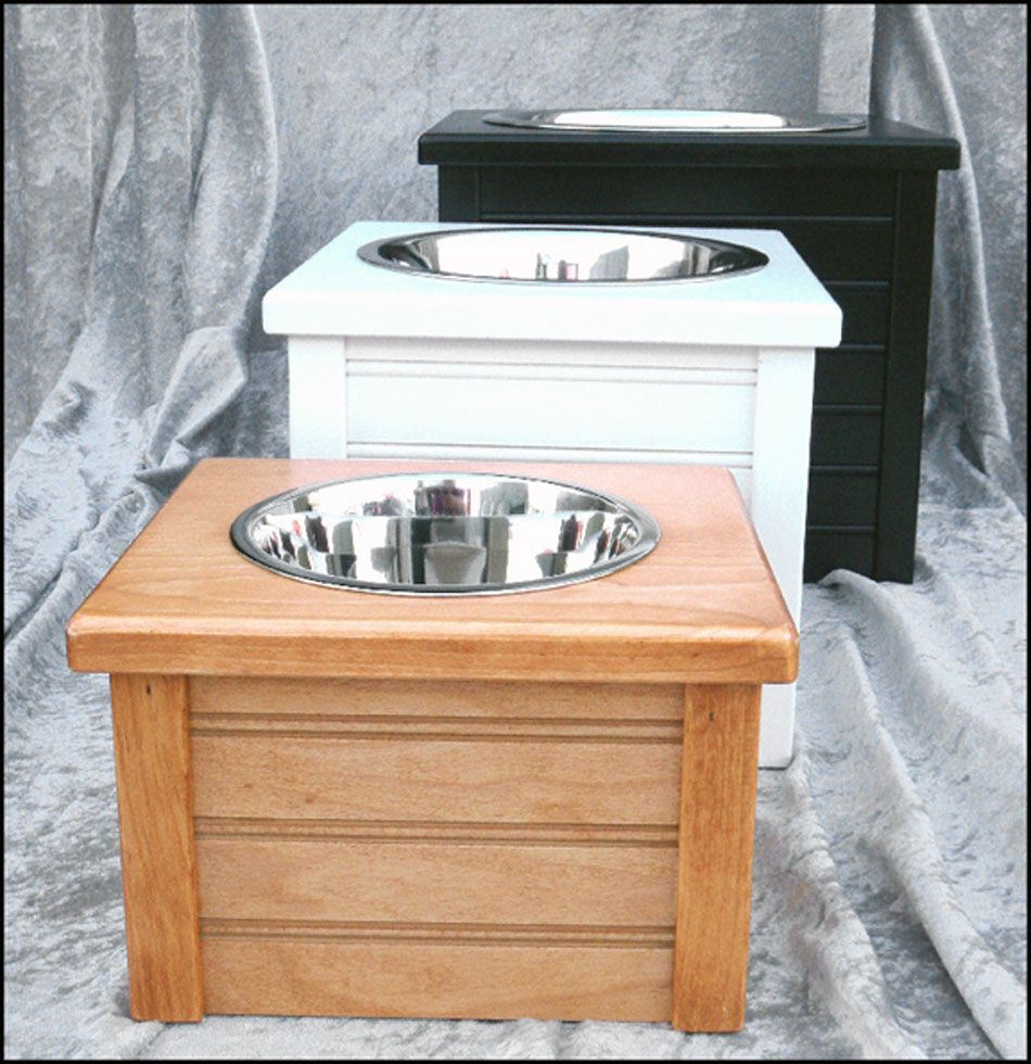 Classic Beadboard Single Feeding Station.....available in several sizes and colors & Made in the USA!! Available at http://doggyinwonderland.com/item_2273/Classic-Beadboard-Single-Feeding-Station.htm