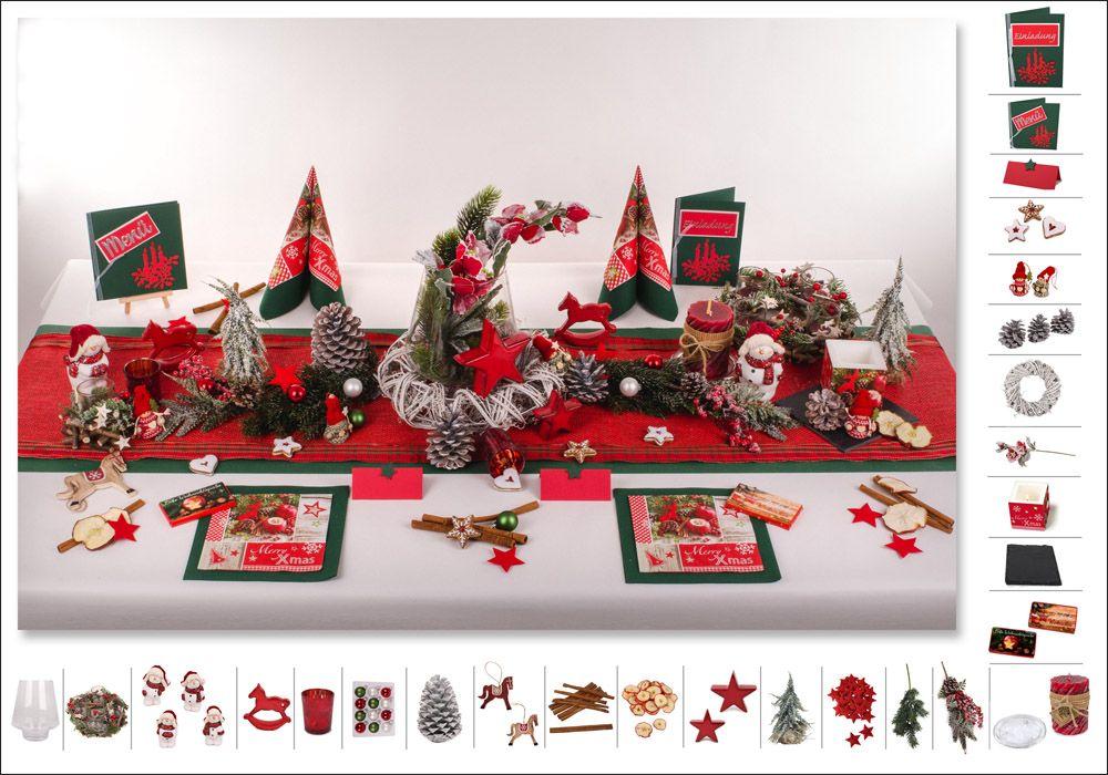 Tischdeko Weihnachten 2 in GrnRot als Mustertisch
