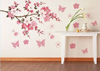 Yingwei Pflaumenblüte Blumen Schmetterling Wandtattoo Raumwand   Kunst Aufkleber 60x45cm