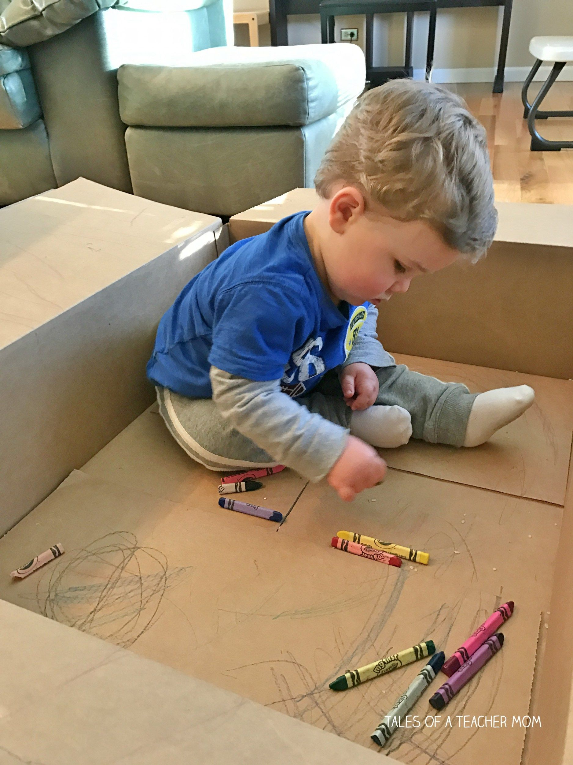 Cardboard Box Coloring Tales Of A Teacher Mom Toddler Learning Activities Toddler Activities Baby Play Activities