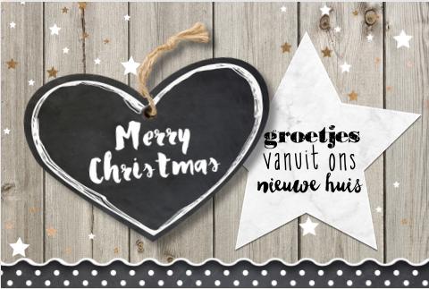 Hippe enkele combi kerst-verhuiskaart met steigerhout, marmer look, sterretjes en krijtbord look. 2 zijdes te bewerken!