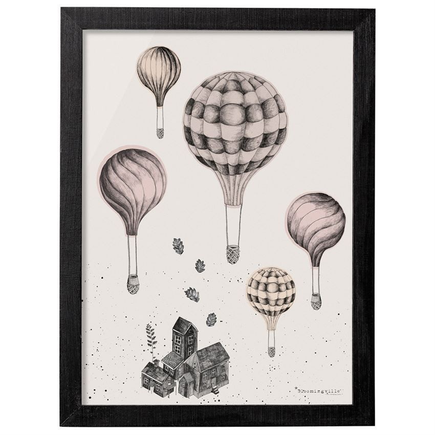 Bloomingville Bild mit Rahmen schwarz - Fly Ballons Heißluftballons ...