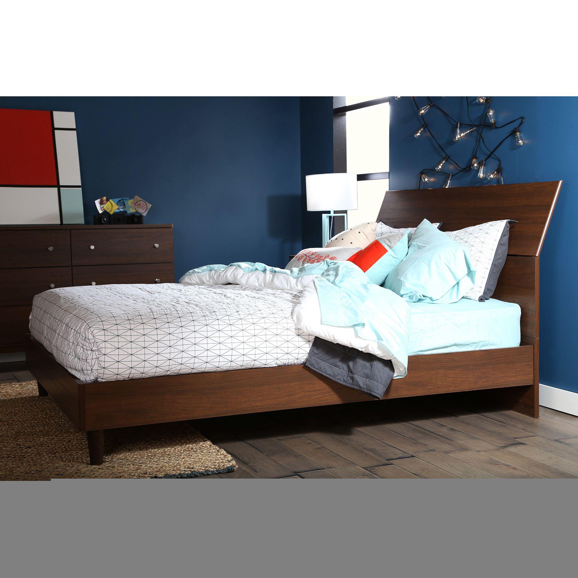 Fenton modern dark brown queen platform bed free shipping today - Olly Queen Platform Bed