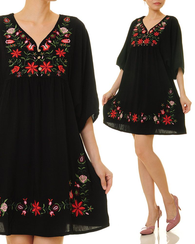 Mexican embroidered dress woman black mexican dress boho chic dresses  ladies tunic boho style dresses