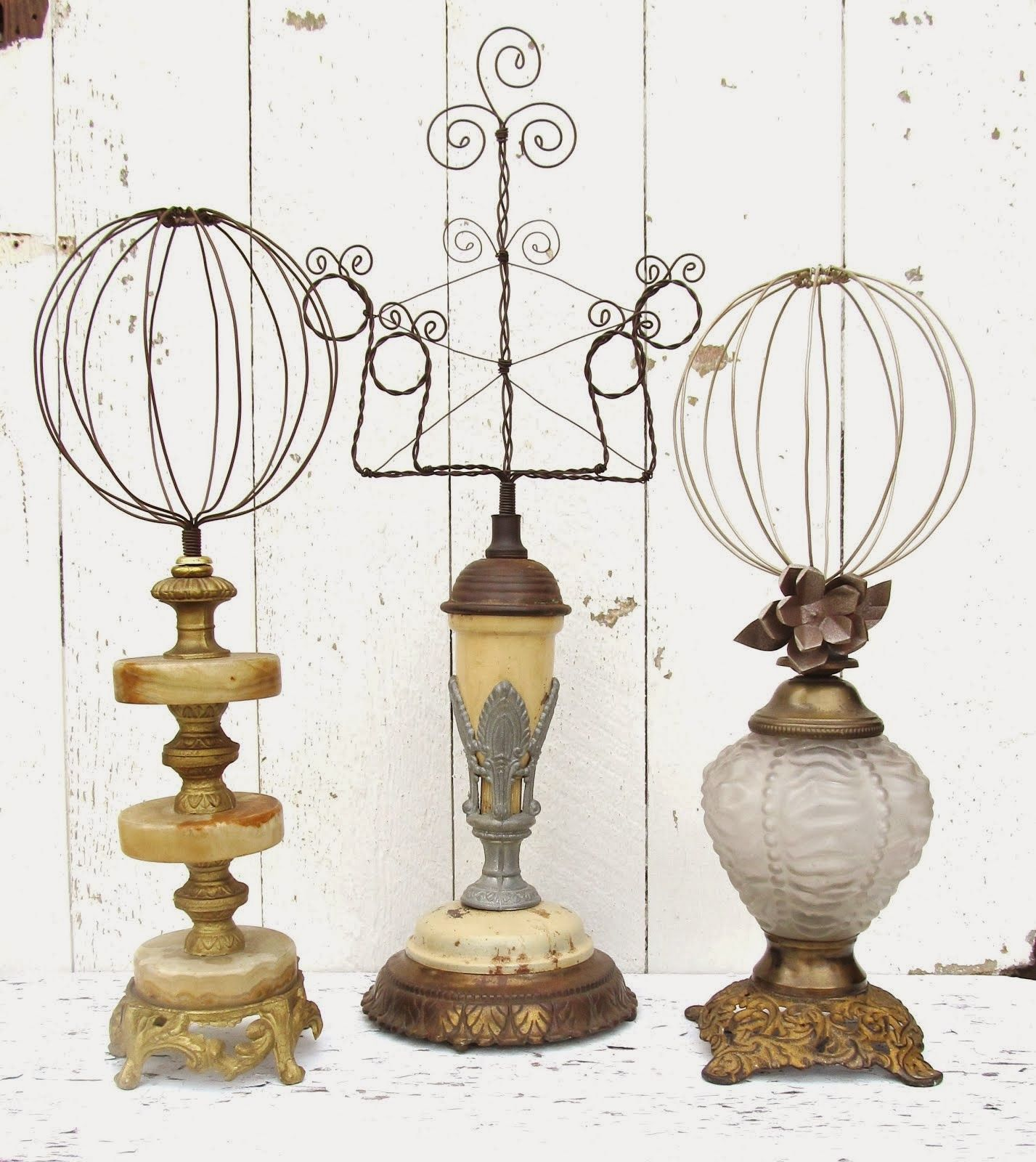 Wire on vintage lamp base hatstands and photo frame holder ---indoor and  outdoor inspiration