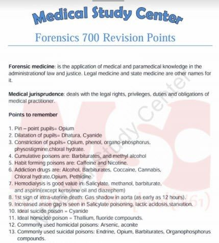 Forensic Medicine 700 Revision Points Medical Study Center With Images Medical Studies Medical Medicine