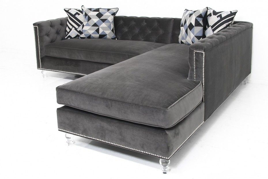 Classic Gray Velvet Fabric Sectional Sleeper Sofa With Tufted