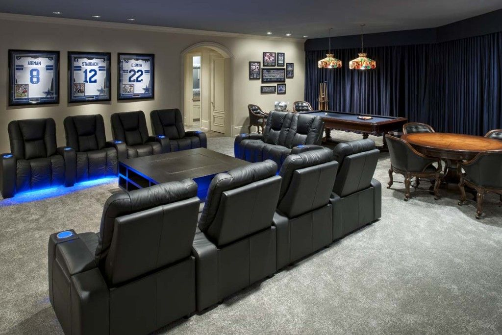 Media Room Paint Ideas Part - 23: Dallas Cowboys Inspired Game And Media Room - Contemporary - Media Room -  Dallas - By Wesley-Wayne Interiors, LLC