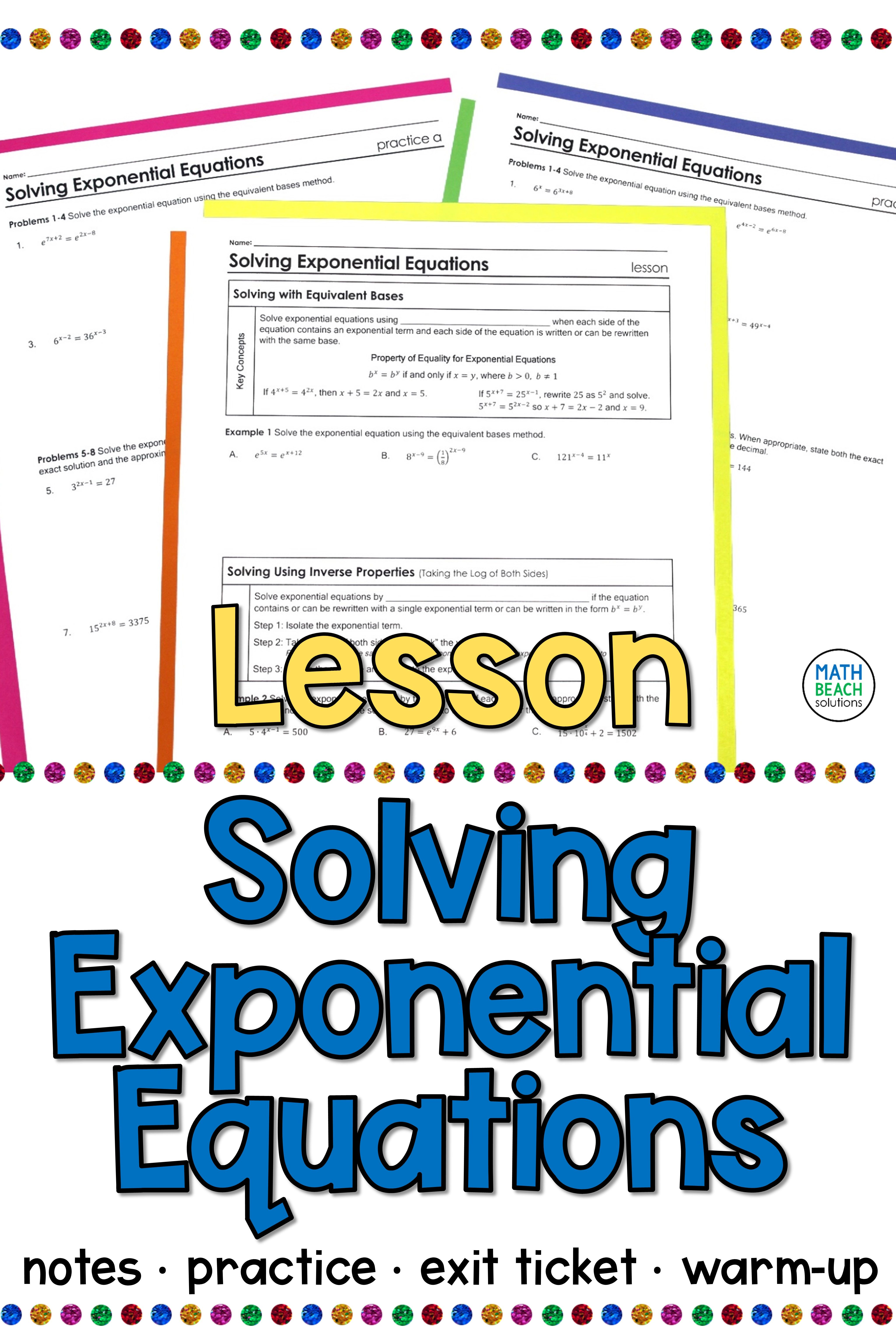 Solving Exponential Equations Lesson
