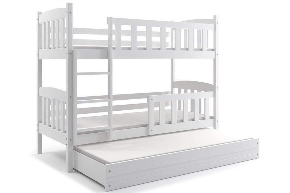 Best Triple Bunk Bed 2 Foam Mattresses Trundle Solid Pine Wood 640 x 480