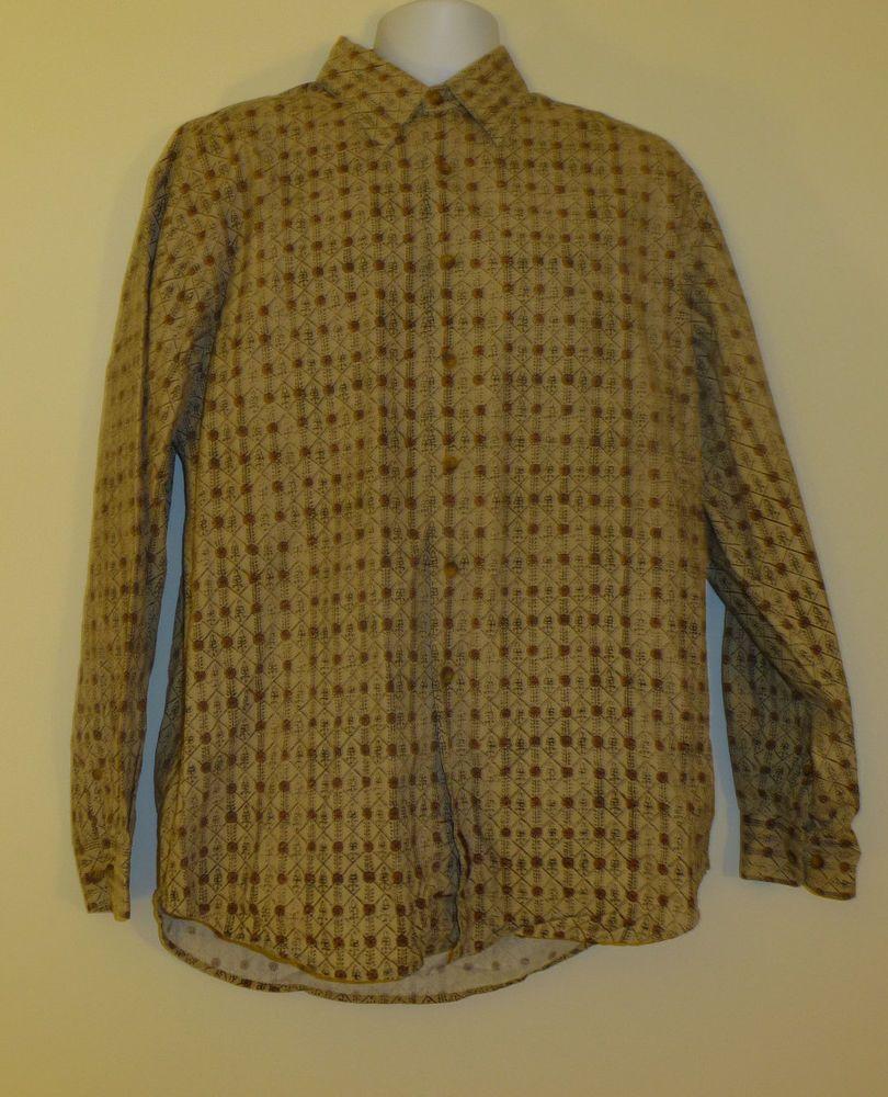 The Territory Ahead 100% Cotton Men's Button Front L/S Shirt Size L Loud Design  $34.99