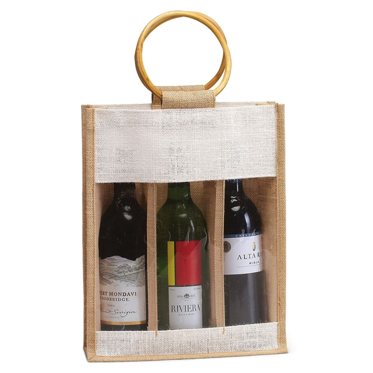 3 Bottle Jute Bag W Window Handles Wine Bags Com Gifts For Wine Lovers Wine Gift Bag Bottle