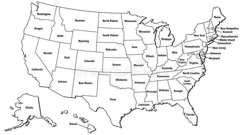 Us Map With States Outline United States Map Outline. An illustrated map of the United States