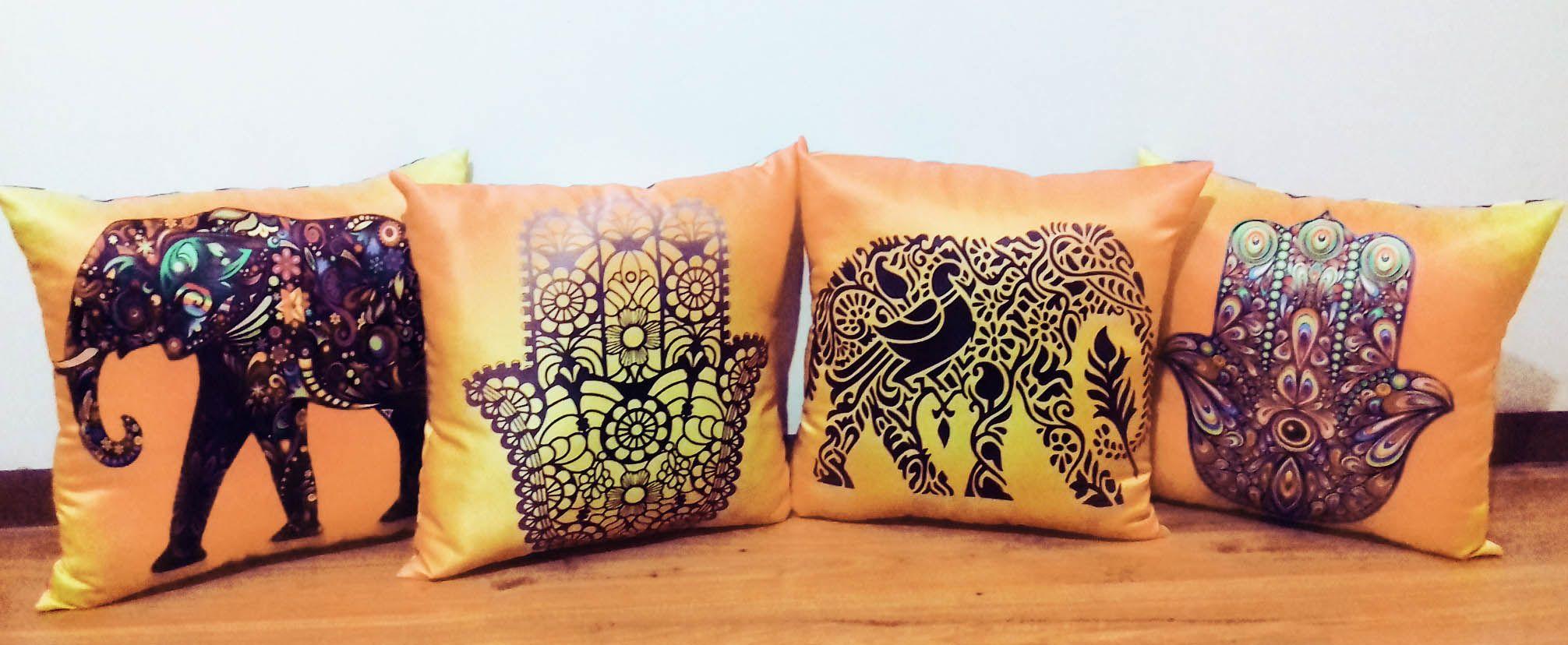 Cojines decorativos personalizados elefante indio y mano de f tima 45 x 45 cm tela s - Cojines indios ...