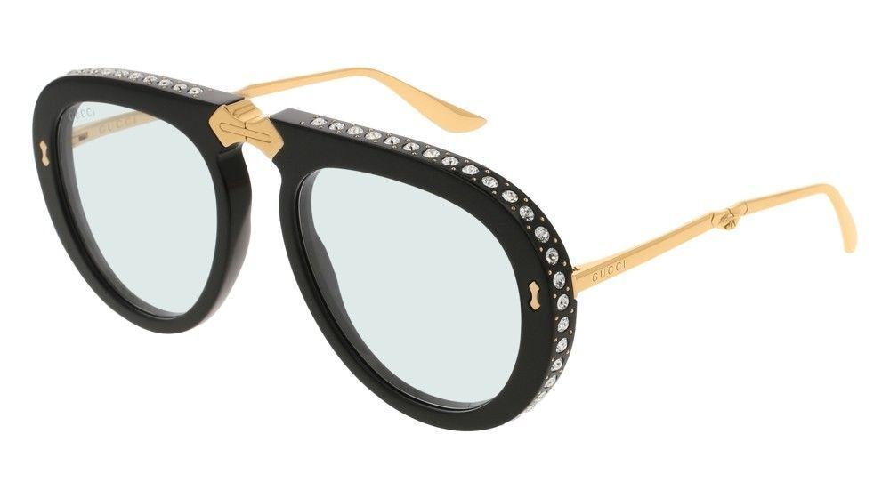 28b74d57459 NEW GUCCI GG0307S Aviator Foldable 002 Black Gold Light Blue Lens Sunglasses   fashion  clothing  shoes  accessories  womensaccessories ...